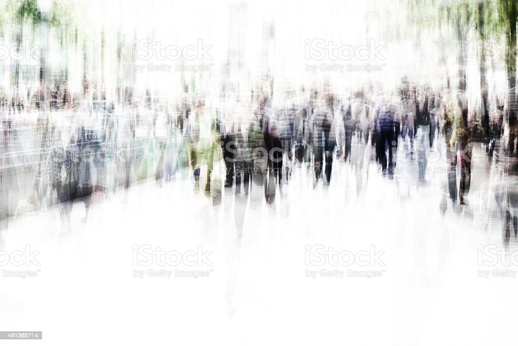 blurred city people walking stock photo