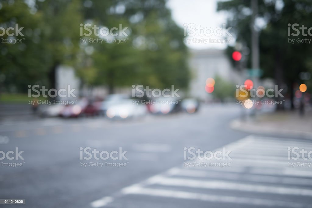 Blurred city street with traffic stock photo