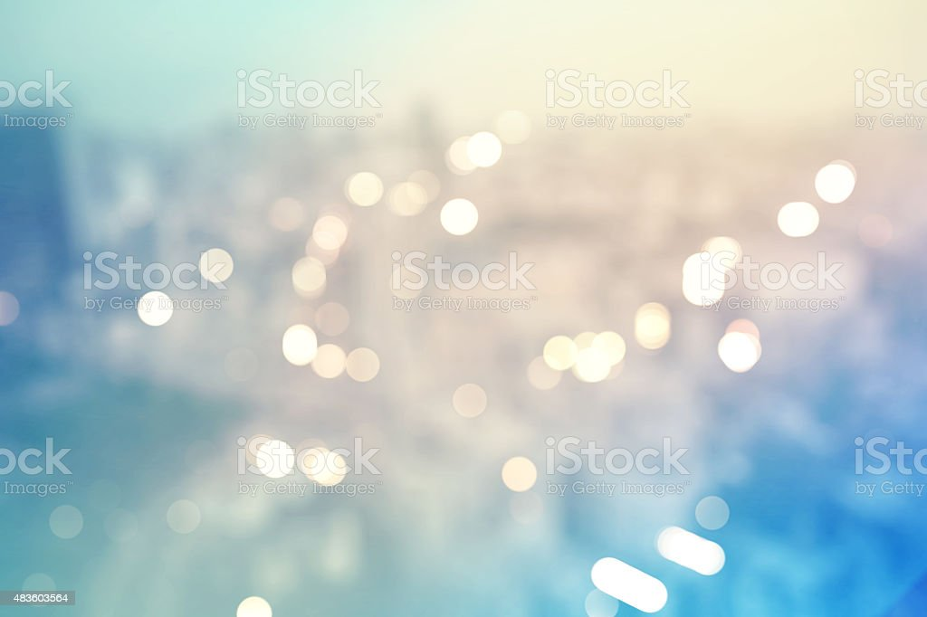 Blurred cityscape background scene from above stock photo
