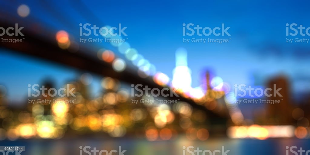 Blurred cityscape of New york city skyline by night stock photo