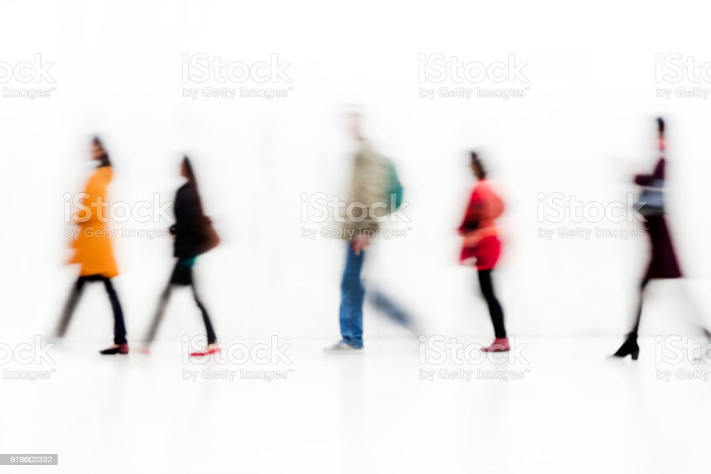 Blurred Commuters stock photo