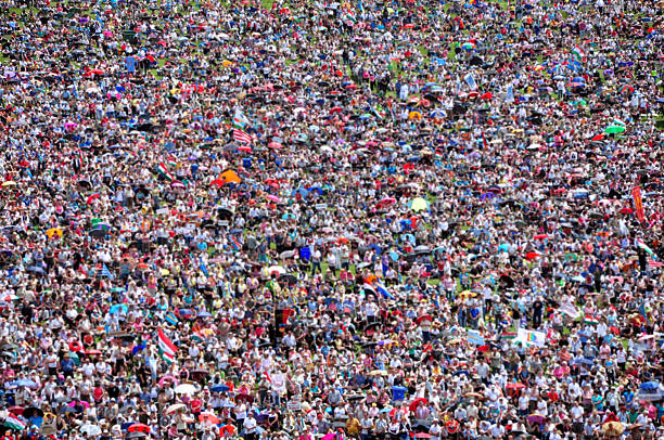 Blurred crowd of people background stock photo