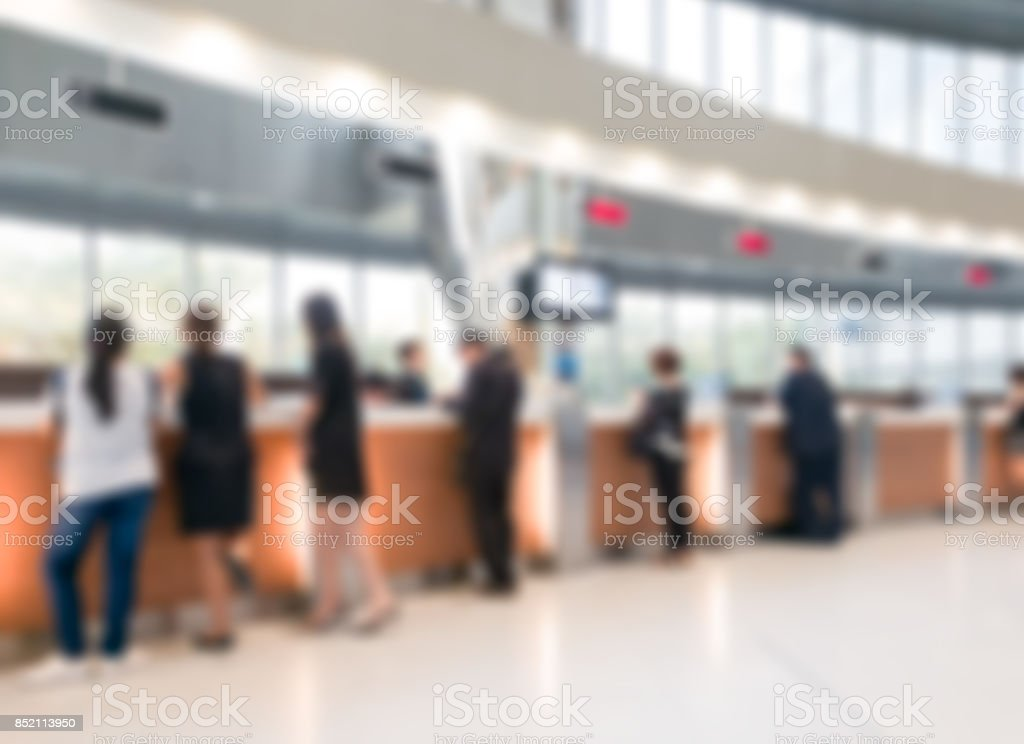 Blurred customer transaction in bank counter stock photo
