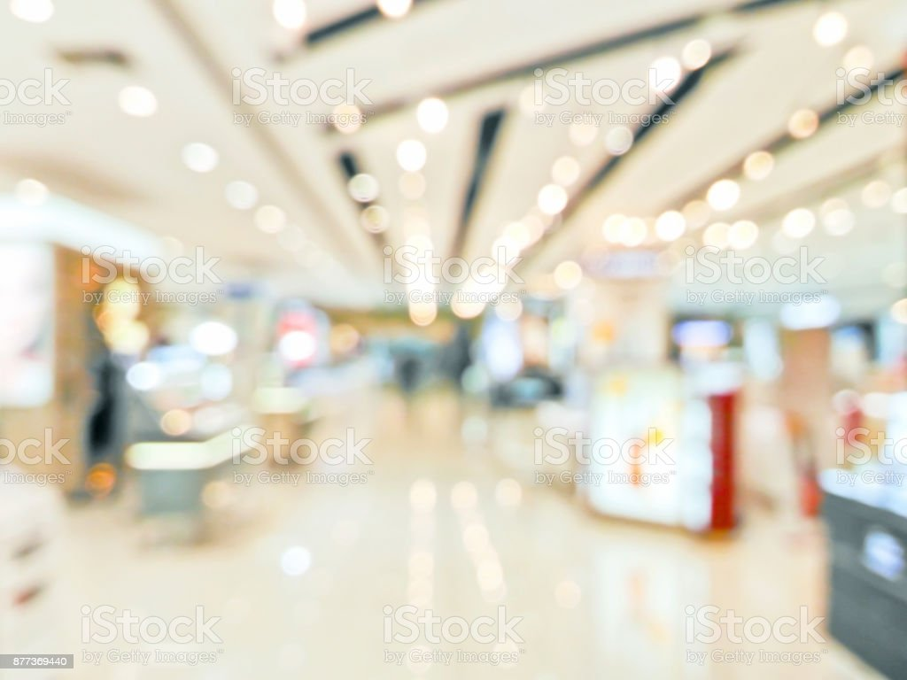 Blurred decorative and colorful shopping mall stock photo