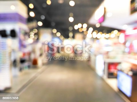 istock Blurred decorative and colorful shopping mall with bokeh light 888652658