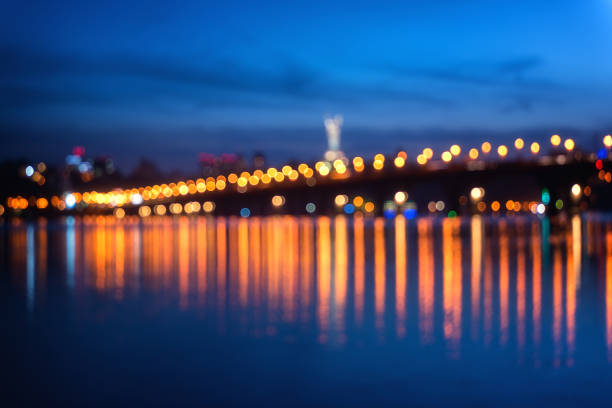 Defokussierten Hintergrundunschärfe mit Citylights, Kiew, Ukraine – Foto