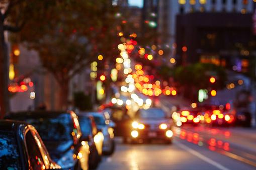 Blurred defocused car lights in San Francisco, California, USA