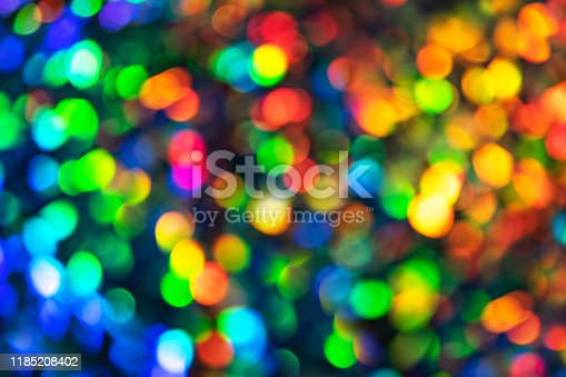 Blurred defocused multi color lights as Christmas decorations background. Party concept.