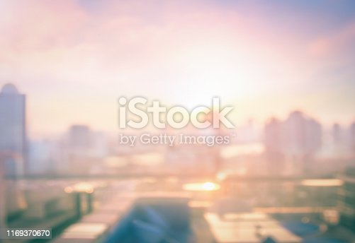 Bangkok city skyline with urban skyscrapers at autumn sunset background. Thailand, Asia