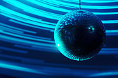 Blurred disco ball background closeup. Music party night club background