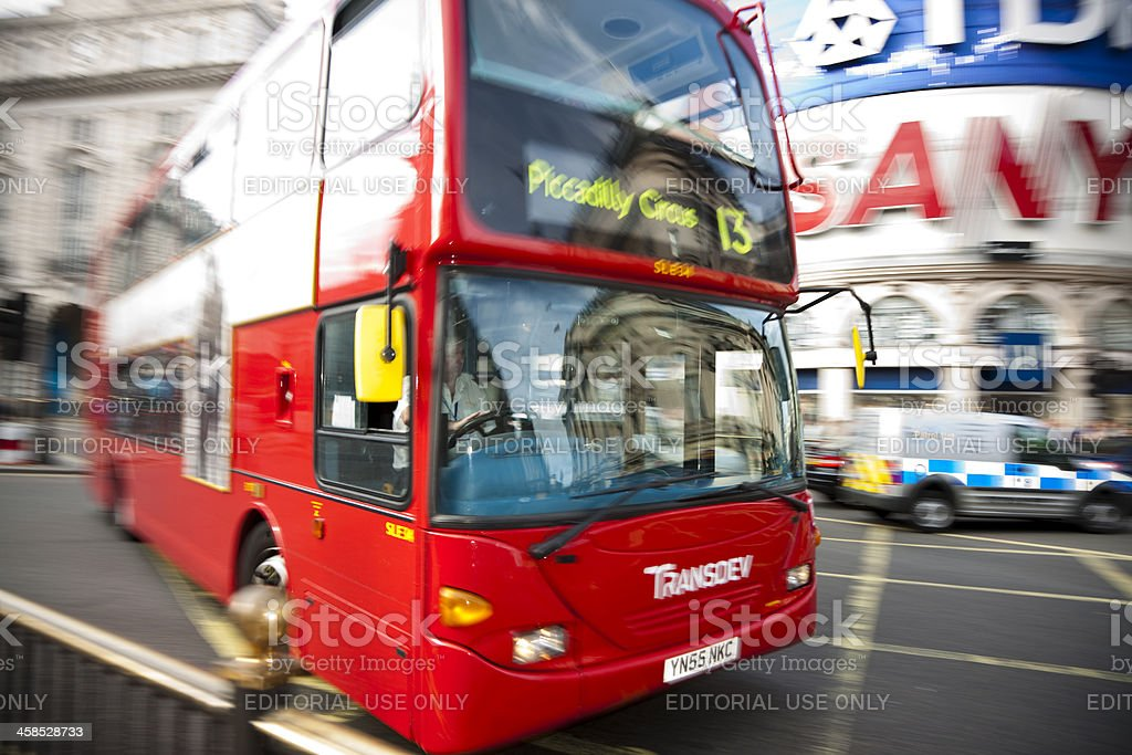 Blurred Double Decker Bus at Piccadilly Circus in London royalty-free stock photo