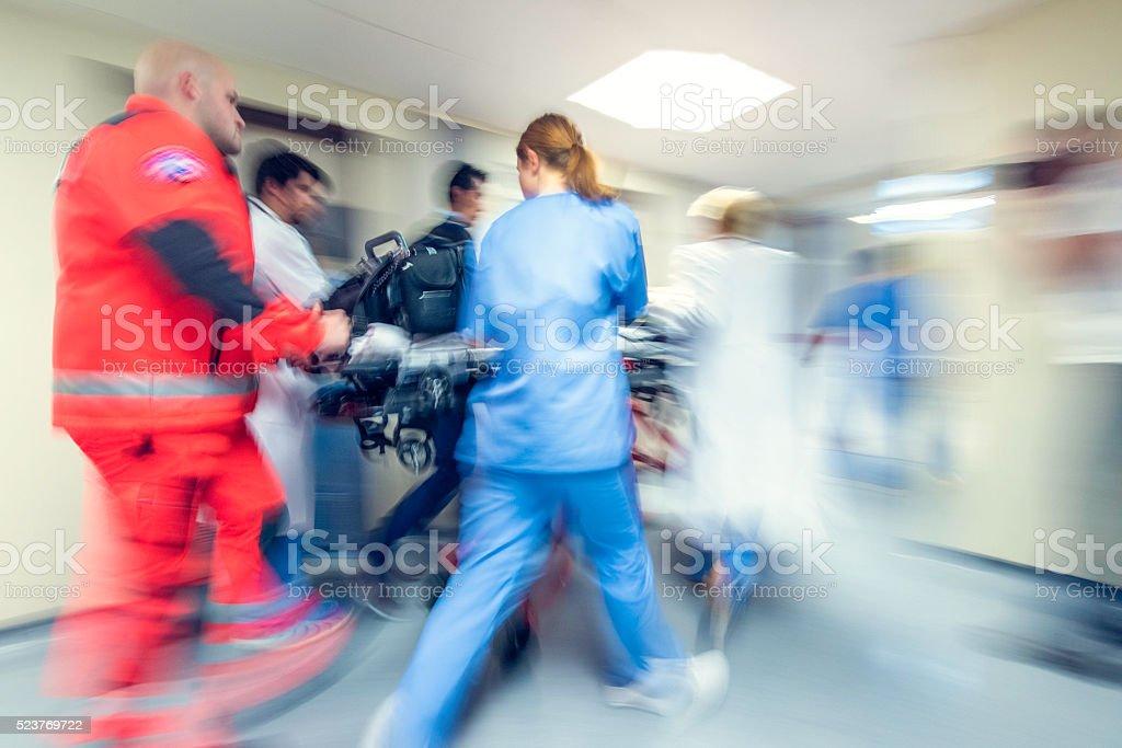 Blurred emergency in hospital stock photo