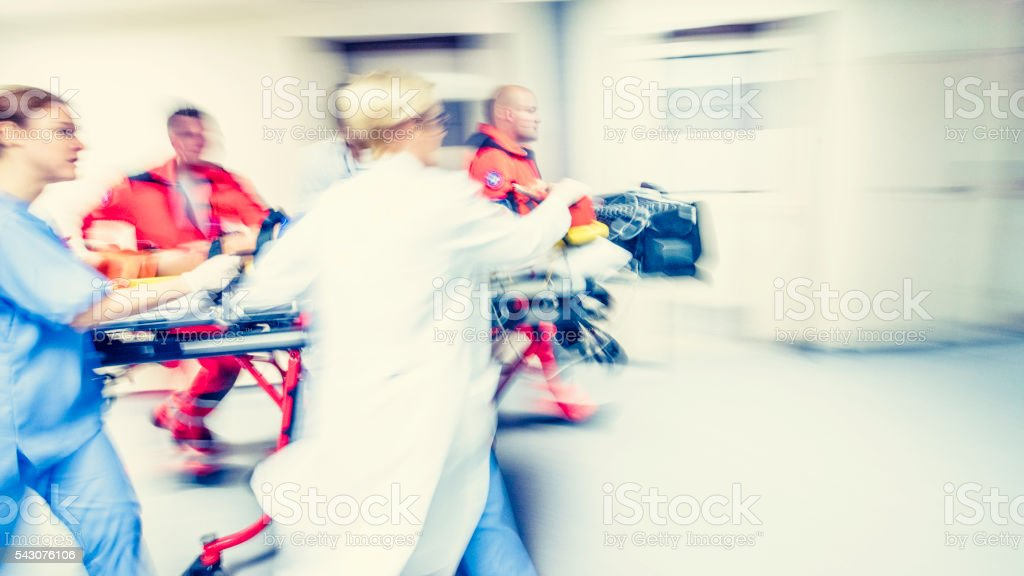 Blurred emergency in hospital stock photo