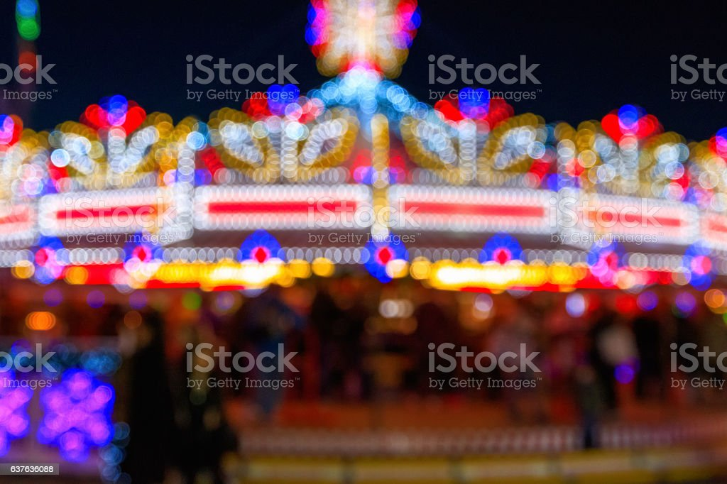 Blurred Festive Lights of A Funfair stock photo