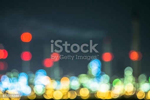 Blurred for oil refinery at night sky, Blur backgrounds concept