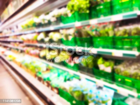 823709528 istock photo Blurred fresh fruits and vegetables at retail store. Abstract background of supermarket. Grocery market blurred background. Fruits in store racks. Interior shopping mall defocused background 1141381205