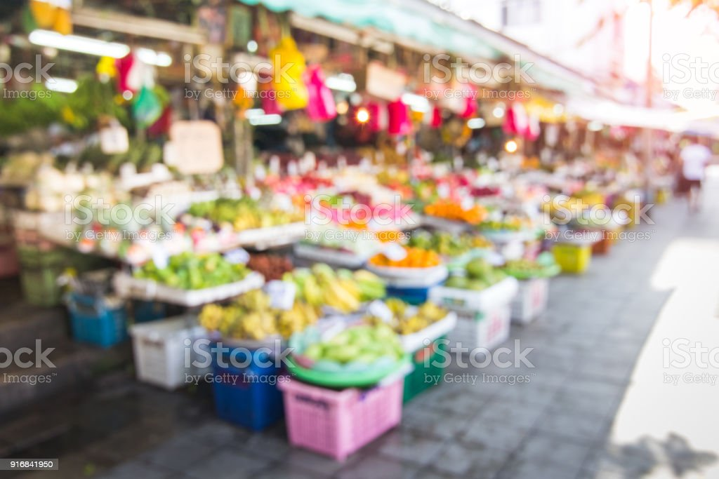 Blurred fruit market background stock photo
