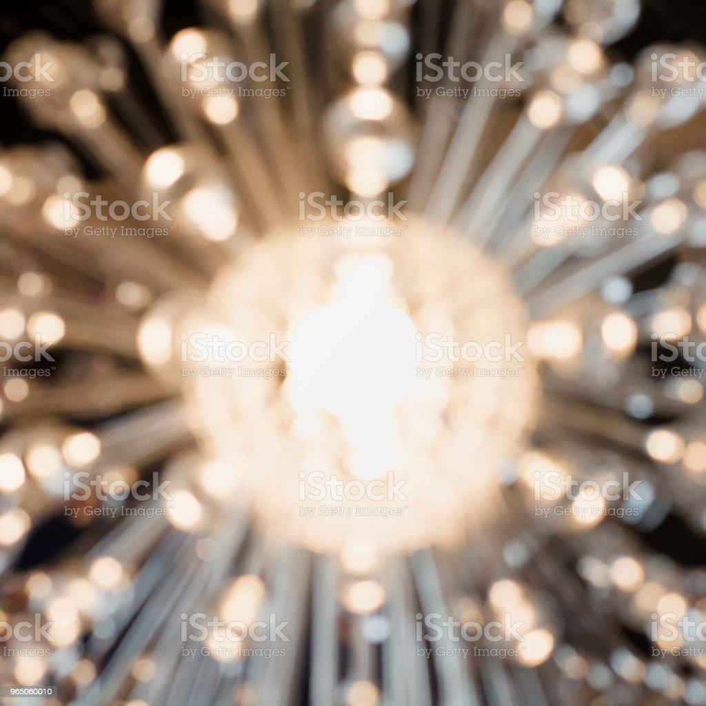 Blurred garland. City night blur bokeh, defocused abstract background. Squre image. zbiór zdjęć royalty-free