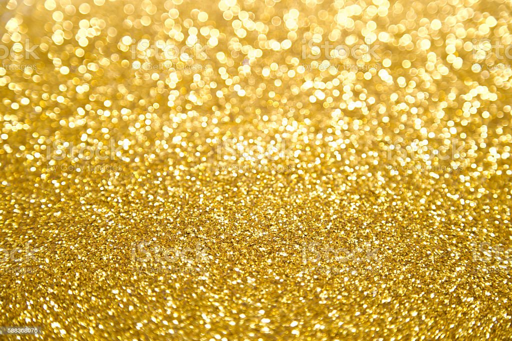 Blurred Gold Glitter Bokeh Background Stock Photo