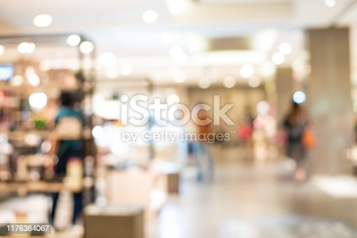 1072974214 istock photo Blurred group of people shopping in supermarket, Moderntrade 1176364067
