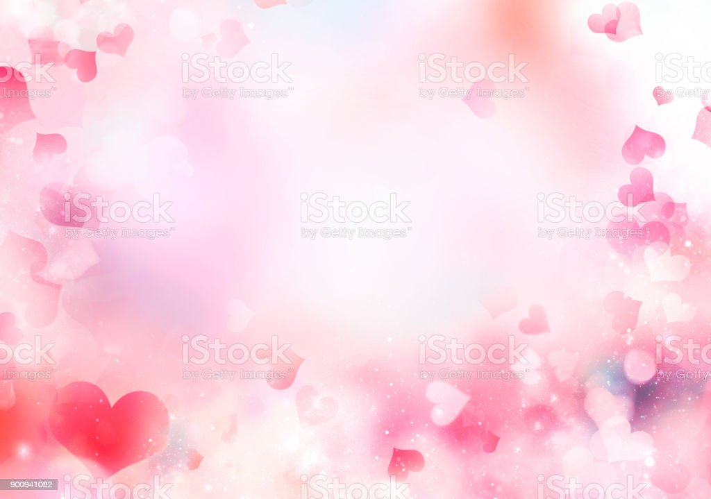 Blurred hearts pink valentine background.