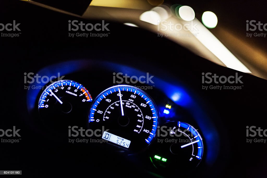 Blurred Highway Night Lights First Person Car Driver POV stock photo