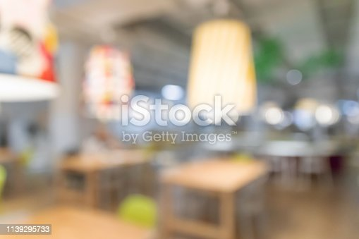 Blurred image for background of co-working space and cafe.