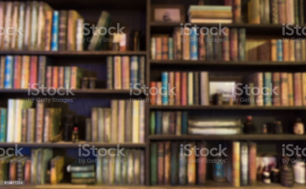 blurred  Image Many old books on bookshelf in library ストックフォト
