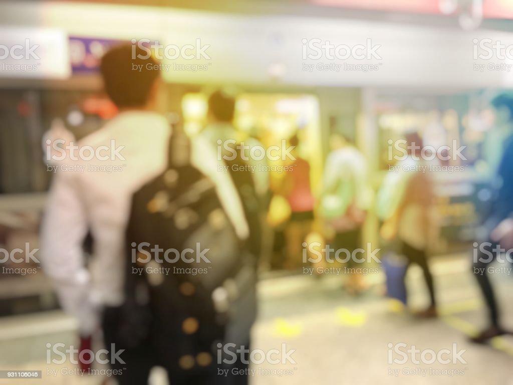 Bitirim İkili tren metro istasyonu için bekleyen sıra hatta Asya insanlar bulanık görüntü. Kalabalık neden stres günlük yaşamda, Bangkok, Tayland kal. Taşıma kavramı - Royalty-free Aciliyet Stok görsel