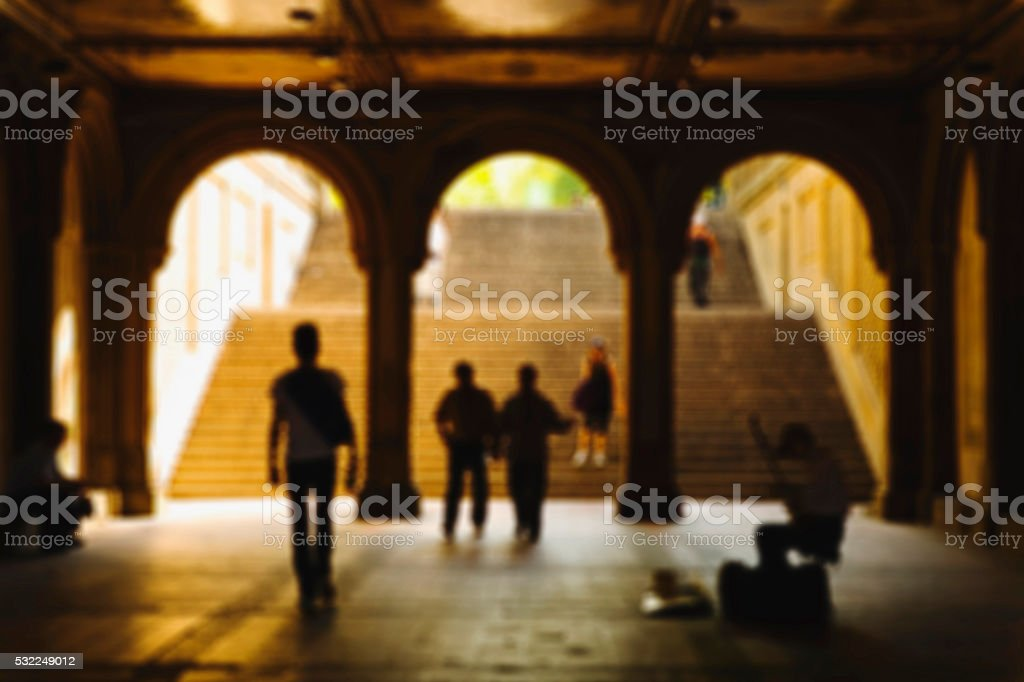 Blurred image of Bethesda Terrace stock photo