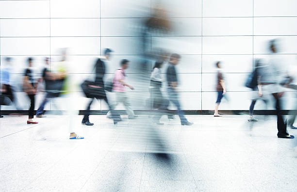 Blurred image of commuters in Hong Kong stock photo