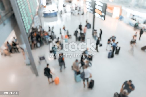 istock blurred image of crowd of travelling people or passenger walking with a luggage from flight in the international airport terminal with beautiful bokeh from the light,advertise & traveling concept. 938386796
