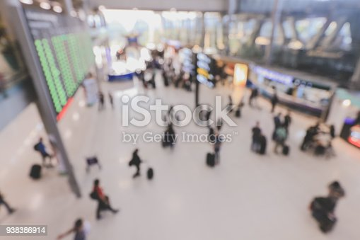 istock blurred image of crowd of travelling people or passenger walking with a luggage from flight in the international airport terminal with beautiful bokeh from the light,advertise & traveling concept. 938386914