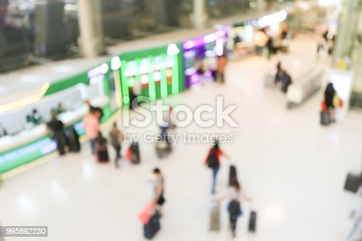 istock blurred image of crowd of travelling people or passenger walking with a luggage from flight in the international airport terminal with beautiful bokeh from the light,advertise & traveling concept. 995862230