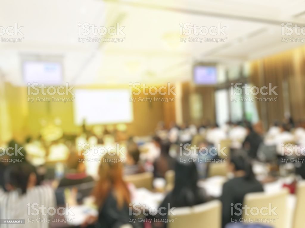 Blurred image of education people  sitting in conference room stock photo