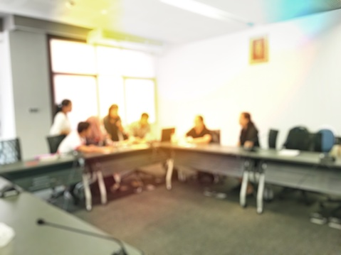 831720990 istock photo Blurred image of education people sitting in meeting room for profession seminar or education media discussion for present the new project. 814301186