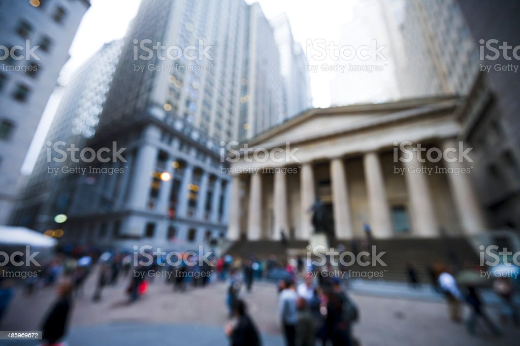 blurred image of Exchange Place in New York City, NY. stock photo