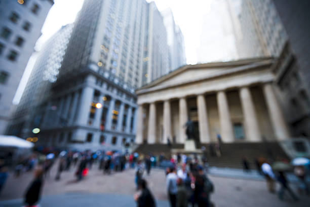 blurred image of exchange place in new york city, ny. - new york stock exchange stock pictures, royalty-free photos & images