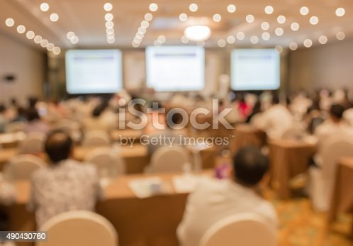 478810450 istock photo Blurred image of people in auditorium , blur with bokeh 490430760