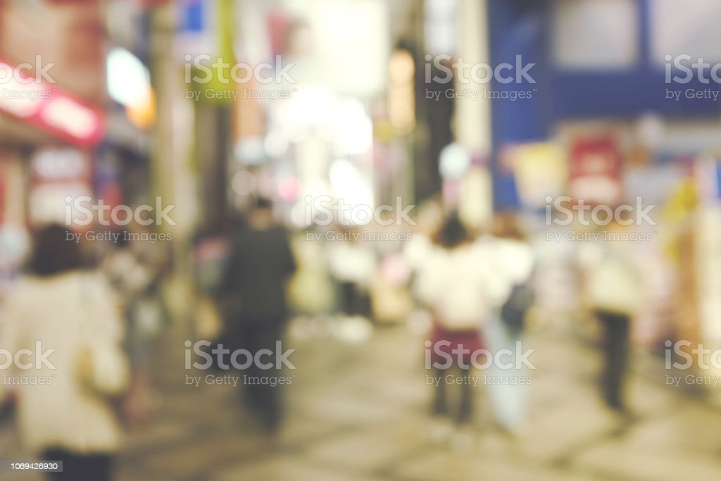 Blurred image of people in shopping street, Blur of osaka Shopping...