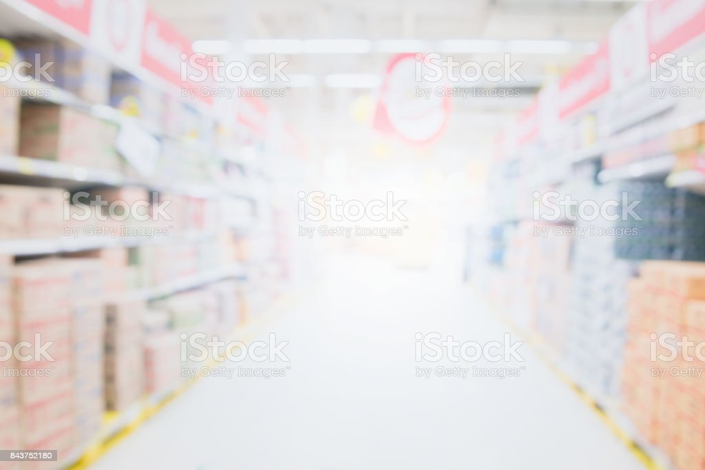 Blurred image of supermarket aisle and shelves. Wide perspective view of empty supermarket aisle, defocused blurry background with bokeh light in store. Business concept stock photo