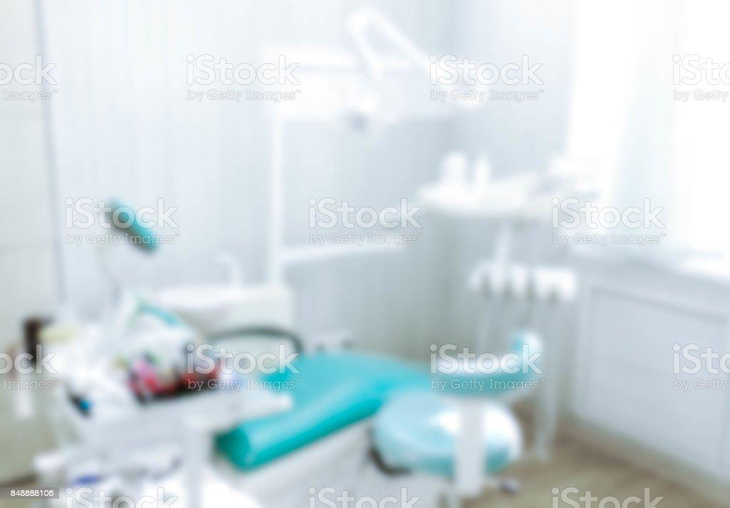 Verschwommenes Bild der Zahnarztpraxis, medizinischen Hintergrund. Zahnarzt Kabinett. - Lizenzfrei Allgemeinarztpraxis Stock-Foto