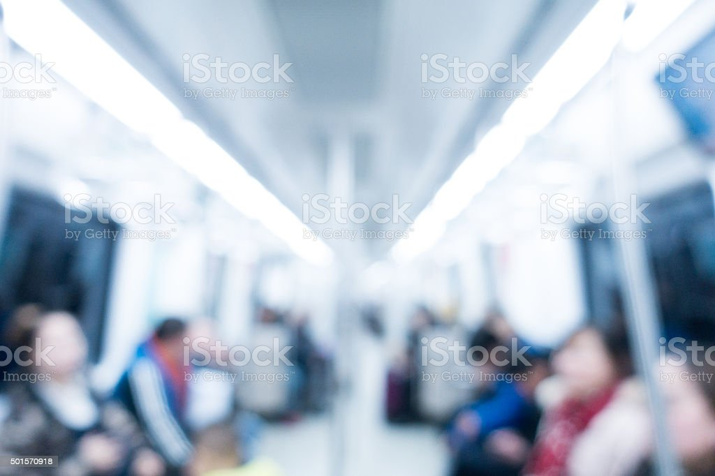 Blurred image of the interior of subway stock photo