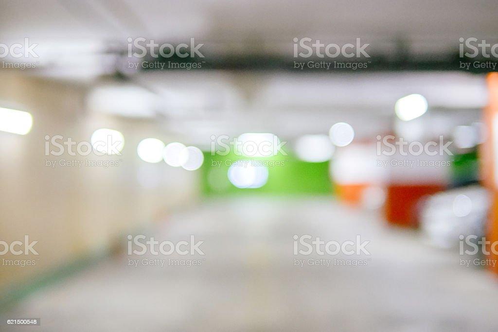 Blurred image Parking garage - interior shot of multi-story car Lizenzfreies stock-foto