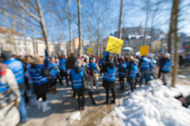 Blurred Images of People Protesting in the City Centre, Europe Blurred images of people protesting in the city centre, Slovenia, Europe. Nikon D850. labor union stock pictures, royalty-free photos & images