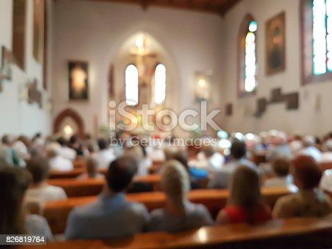istock Blurred interior of the church 826819764
