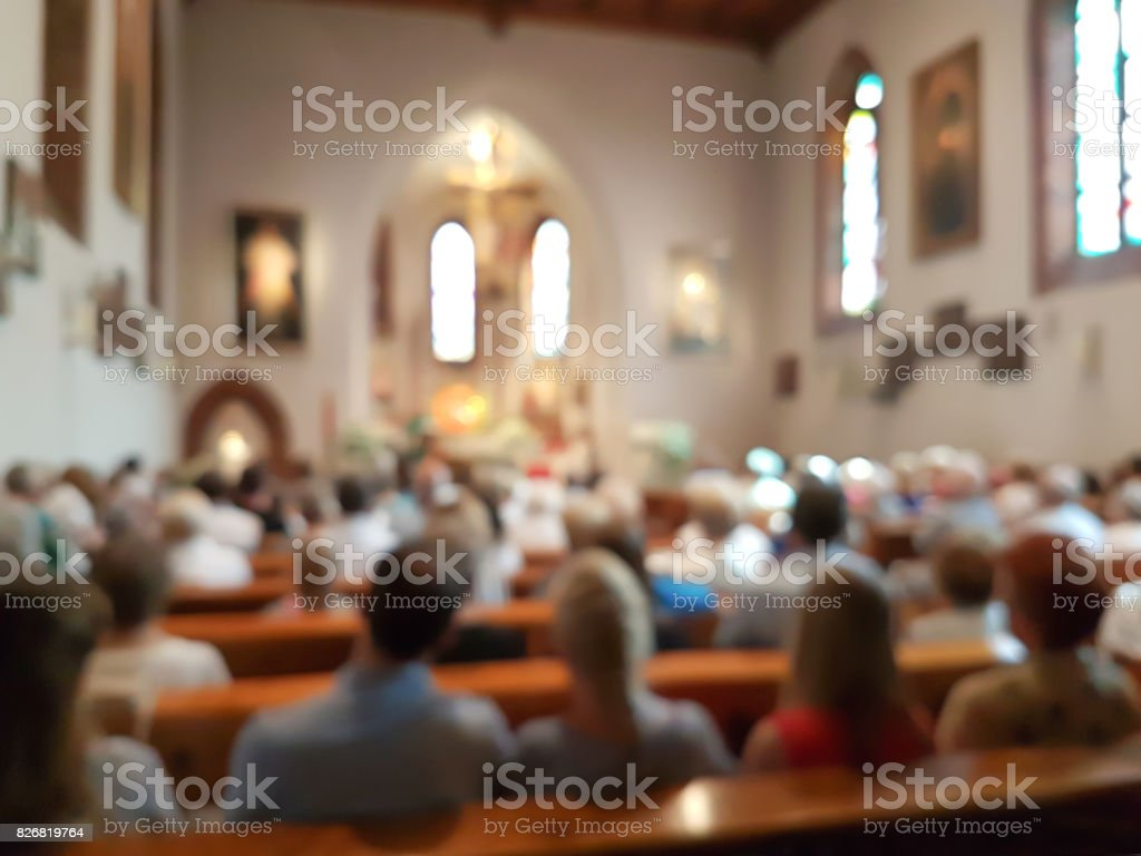 Blurred interior of the church stock photo