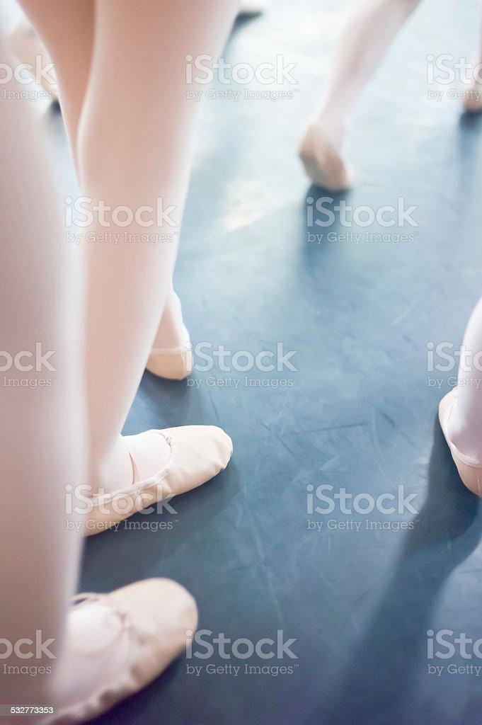 Blurred legs little ballet dancers stock photo