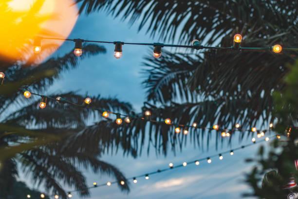 wazig licht bokeh met coconut palm tree achtergrond op zonsondergang, gele string lichten met bokeh decor in openlucht restaurant - strandfeest stockfoto's en -beelden
