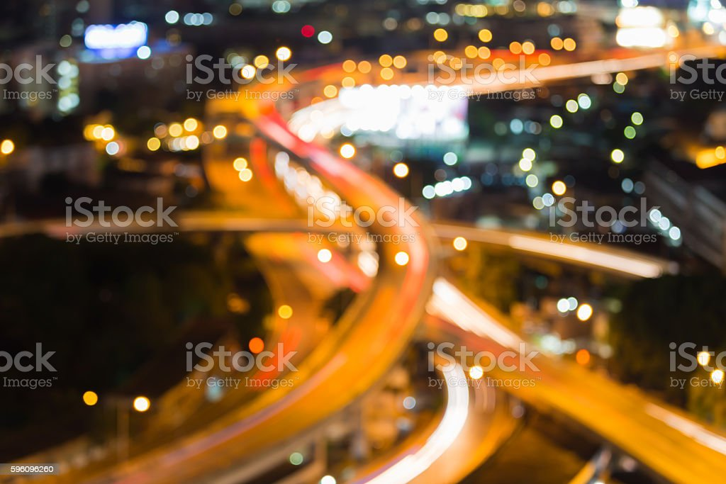 Blurred lights highway interchanged nigh view, abstract background royalty-free stock photo